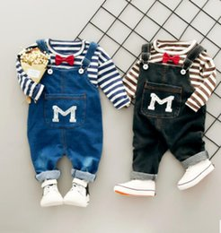 Tee-shirt De Combat Pour Enfants Pas Cher-2Pcs Girls Baby Boys à rayures T-Shirt + Rompers Jeans Set Kids Casual Outfits