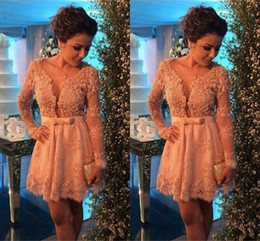 $enCountryForm.capitalKeyWord NZ - 2017 Lace Cocktail Dresses with Long Sleeves Sexy Short Party Dress Beaded Mini Homecoming Gowns Vestidos de Venda Cheap