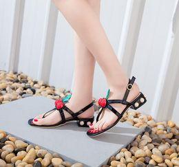 49d1b321b1dfdb Cherry Hot Fashion Heel Flip Slippers Genuine Gladiator Leather Travel  Beach Flip Flops Sandals Shoes For Women