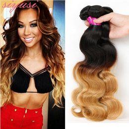 red bundles 28 inch hair 2019 - Brazilian Hair Bundles Blonde Ombre Hair Weave 1B 27 1B 4 27 1B 30 1B Red Brazilian Body Wave Hair Extensions cheap red