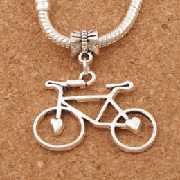 Bicycle heart online shopping - 60pcs Open Heart Bike Bicycle Big Hole Beads x33mm Antique Silver Dangle Fit European Charm Bracelets B264