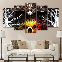 $enCountryForm.capitalKeyWord NZ - 5 Panel HD Printed Framed Forest Women Demon Wall Canvas Art Modern Print Painting Poster Picture For Home Decor Artworks