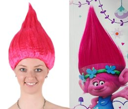 Wholesale- Trolls Wig for Kids Pink Costume Cosplay Party Supplies Kids Hairs Kids Party Cosplay Wig