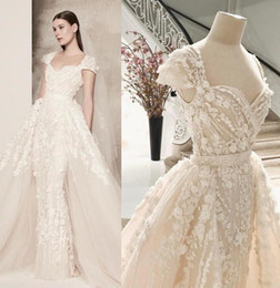 Discount elie saab wedding custom dress - 2017 Elie Saab Mermaid Lace Wedding Dresses Overskirts 3D Florals Lace Bridal Gowns Cap Sleeves Real Photos Vintage Wedd