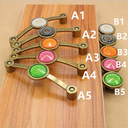 China vintage fashion crystal furniture handles 110mm bronze dresser kitchen cabinet pulls antique brass red green white drawer knobs cheap antique red cabinet suppliers
