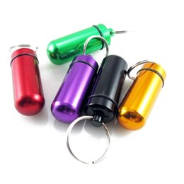 Wholesale best Travel aluminum alloy Waterproof Pill Case box KeyChain Medicine Storage pill container Organizer Bottle Holder Herb wax Container