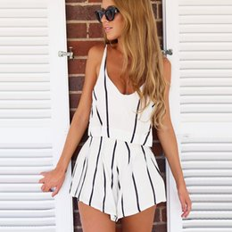 d36dd3033fca Summer White Women Striped Jumpsuit Sexy Backless Short Rompers Womens  Jumpsuit Casual Chiffon Overalls For Women Playsuit