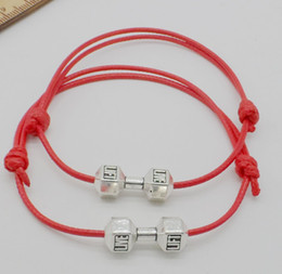 $enCountryForm.capitalKeyWord NZ - 50pcs lot Barbell Dumbbell charms String Lucky Red wax Cord Adjustable Bracelet Diy