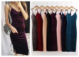 Velvet Bodycon Canada - New european fashion 2016 women's sexy v-neck spaghetti strap side vent jag split velvet midi long dress bodycon vestidos