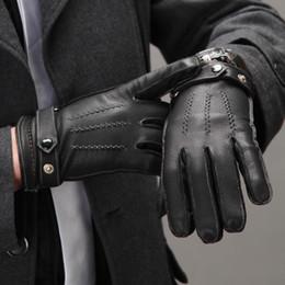 Men Gloves Leather Sheepskin Canada - Wholesale- men boy women girl Lovers fashion stereo genuine leather sheepskin winter thermal gloves