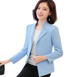 Barato Coreano Longas Blazers Para As Mulheres-L-5XL blazer Mulher 2017 Primavera New Korean Women blazers and jackets Plus Size Long Sleeve Casual senhoras One Button Suit jacket