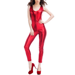 Barato Ternos Apertados-Womens Nightclub Tight sem mangas Jumpsuit Trousers Stage Body Suit DS Vestuário Coat of Paint Red