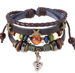 Musical Beads Canada - New Vintage Bracelet Jewelry Trends Design Musical note Wood Beads Beaded Bracelets Men Style Bangles for Women on Sale