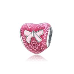 $enCountryForm.capitalKeyWord UK - Pink Ribbon Anti-cancer Beads Heart Shape Fits Pandora Snake Bracelets Necklaces Charm DIY Charm free shipping