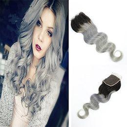 $enCountryForm.capitalKeyWord NZ - Ombre Lace Closure 1b Grey Brazilian Hair Body Wave Virgin Hair Peruvian Indian Malaysian Remy Hair Two Tone 1b Silver Top Closure