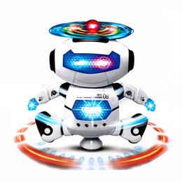 Electronics Dance Music Canada - Children Electronic Walking Dancing Smart Space Robot Kids Cool Astronaut Model Music Light Toys Christmas Gift 2017 New hot 360 Rotating