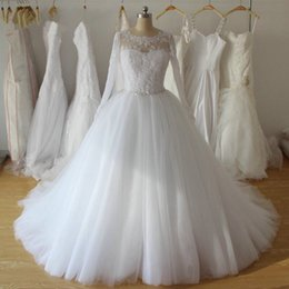 $enCountryForm.capitalKeyWord Canada - Top Crystal Ball Gown Bridal Dresses New Full Sleeve Real Image Sheer Princess Tulle Appliques Draped Wedding Vestido de Noiva Beaded Modern
