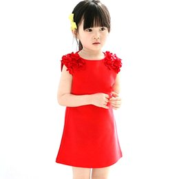 wholesale girls christmas dress UK - Summer Baby Kids 1 Year Girls Flower Sleeveless Princess Mini Dress Party Dresses Clothes Red Pink Solid Vestido