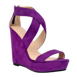 Handmade suede sHoes online shopping - Kolnoo Womens Fashion Handmade cm Open toe Cross Style High Wadge Heel Party Sandals Shoes Purple XD060