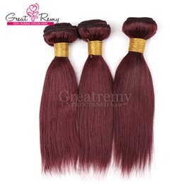 China Color 99J Red Wine Brazilian Straight Human hair Weaves 3pcs lot Greatremy 10-24inch Burgundy Color Brazilian Hair Extension cheap red hair 3pcs suppliers