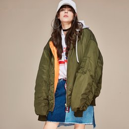 Nouvelle Veste De Manteaux Pour Filles Pas Cher-Nouvelle veste à capuche d'hiver pour femme Cool Girls Hippie Boyfriend Padded Coat Flight Bomber Overcoat Windbreaker Moto Casual Casquette de baseball
