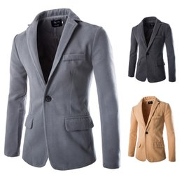 Blazer En Laine D'hiver Hommes Pas Cher-Vente en gros - 2015 Hot New Autumn Winter Fashion Solid Wool Men Coats Single button Slim fit Mens Blazer Epais Casual Men's Coat 5 couleurs