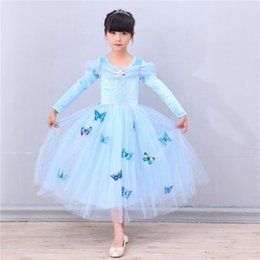 Papillon Bleu Tutu Pas Cher-Sky Blue Snowflake Girls Cendrillon Robe Habits Boutique Vêtements Costumes Costume pour enfants Cinderella Gown Butterfly Party Dress Clothes