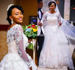 simple high neckline wedding dress 2019 - Saudi Arabia Illusion Long Sleeves Wedding Dresses Scoop Sheer Neckline Back Covered Button Lace Wedding Dress Puffy Plu