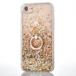 Discount tpu clear cover case - Bling Liquid Quicksand Diamond Foil Glitter Hard PC Case For Iphone XR XS MAX X 8 7 6 TPU +Metal Finger Ring Confetti Sp
