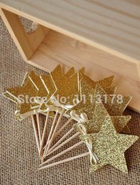 $enCountryForm.capitalKeyWord NZ - cheap Custom personality 30pcs Glitter Gold Star Bridal Shower Cupcake toppers,birthday baby shower wedding Engagement Party Decoration