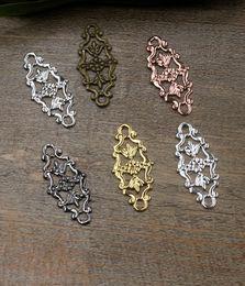 $enCountryForm.capitalKeyWord Australia - 07544 12*27mm antique bronze silver rose gold gun black filigree flower charms for jewelry making, vintage necklace pendants for bracelet