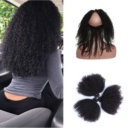 kinky curly weaving hair Canada - Afro Kinky Curly 360 Ful Lace Frontal With 3 Bundles Peruvian Virgin Human Hair Weaves With 360 Band Lace Closure 4Pcs Lot