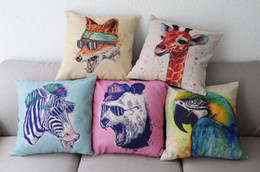 $enCountryForm.capitalKeyWord NZ - Watercolor Painting Animals Cushion Covers Candy Color Fox Giraffe Zebra Panda Bird Parrot Pillow Cover Decorative Linen Cotton Pillow Case