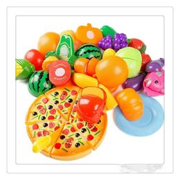 fruit cutting toy for kids Canada - Wholesale Play Cutting Toys Fruit Vegetable Kitchen Cutting Early Development Education Toy For Baby Kids DressUp Toys Free DHL