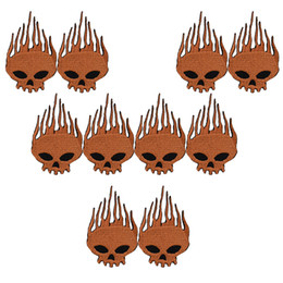 $enCountryForm.capitalKeyWord UK - 10PCS brown skull embroidery patches for clothing iron patch for clothes applique sewing accessories stickers badge on cloth iron on patches