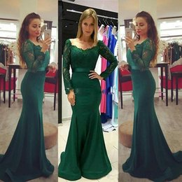 Barato Escuro Verde Sereia Vestidos De Noite-2018 Modest Dark Green Long Sleeve Evening Party Vestidos Lace Stain Elegante Longa Sereia Fishtail Formal Prom Vestidos Vestidos de Noiva