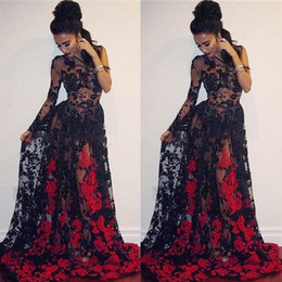 $enCountryForm.capitalKeyWord Australia - Sexy See Through Prom Dresses Black And Red Lace Appliques Evening Gowns South African Sweep Train Formal Party Vestidos Custom Made