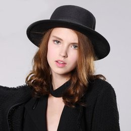 $enCountryForm.capitalKeyWord Australia - Women's Flat Dome Hats Wool Porkpie Sun Hat with Black Ribbon Band Fedora Hats Wool Boaters Sombrero