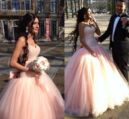 $enCountryForm.capitalKeyWord Australia - Arabic 2017 New Quinceanera Ball Gown Dresses Sweetheart Pink Sleeveless Tulle Beaded Bow Sweet 16 Floor Length Party Prom Evening Gowns