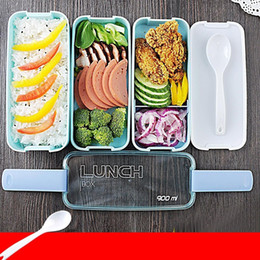 Plastic Colored NZ - Lunch Box Environment Protection Student Three Layers Lattice Plastic Bento Boxes Candy Colored Square Microwave Oven Tableware 10jh E1