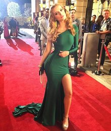 Barato Vestido Verde Escuro De Manga-Dark Green Sexy Um ombro vestidos de noite 2017 Nova manga comprida manga comprida High Split Mermaid Prom Dresses Long Sweep Train Custom Made
