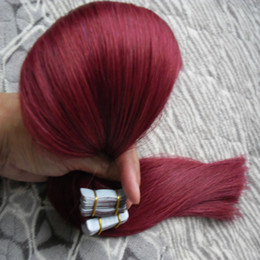 Discount used human hair - Use of human hair Tape in hair extensions #99J Red Wine Straight 100g 40pcs skin weft tape hair extensions