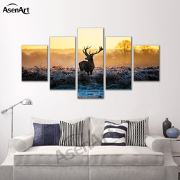 $enCountryForm.capitalKeyWord Canada - 5 Pieces Picture Animal Painting Deer Picture Frames Living Room Home Decoration Wall Art Canvas Print Framed Ready to Hang Dropshipping