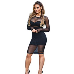 Femmes Sexy Portant Des Vêtements Moulants Pas Cher-New Arrival Mesh Bodycon Robe Summer 2016 Black Beige Sheer Robes de soirée Stretchy Sexy Club Wear Plus Size Women Clothing q170716