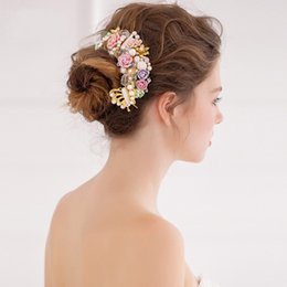 Hair Comb Flower Pink Canada - Flowers Wedding Accessories Wedding Hair Accessories with Comb High Quality Fairy Style Bridal Hair Decoraitons 2017