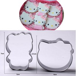 Kitty cupcaKes online shopping - 2pcs kitty cookie cutter KT Cat party metal biscuit mold patisserie gateau cake pastry baking tools cupcake toppers