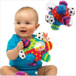 $enCountryForm.capitalKeyWord Australia - Wholesale- Baby Fun Pumpy Ball Cute Plush Soft Cloth Hand Rattles Bell Training Grasping Ability Toy For Baby Boys Girls Ring Toys