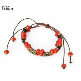 $enCountryForm.capitalKeyWord Canada - BoYuTe Vintage Style Diy Handmade Knitted Ceramic Bead Adjustable Rope Bracelet Women Fashion Women's Accessories Gift