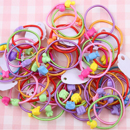 Hair Color Children Australia - Wholesale- New 5 PCS Candy Color Elastic Hair Bands Headwear Children Ring Rope Hair Styling Accessories