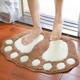 cartoon 40x60cm big foot shape carpet flocking door floor mats living room bedroom bathroom rug home decorative